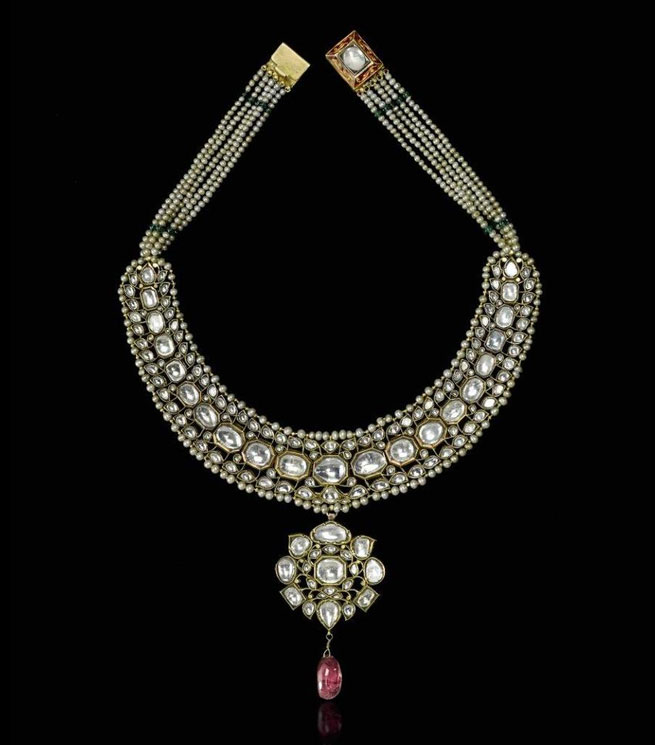 Gem-set-and-enamelled-gold-necklace